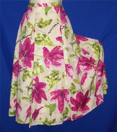 """Found in my store.. http://stores.ebay.com/My-Evergreen-Closet Chico's Beige, Pink & Green Tropical Floral Full Skirt 1 / M 28-32"""" waist"""