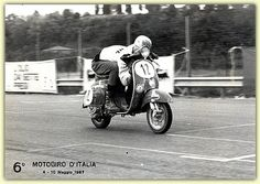 Vespa SS90 racer by vegansydney, via Flickr Vespa 50, Vespa Scooters, Vintage Images, Vintage Art, Racing, Motorcycle, Black And White, Vehicles, Frame