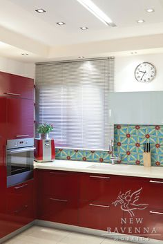 Red kitchen with wooden countertop would be beautiful