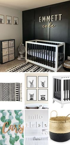 modern black nursery with woodland forest animal prints and black and white crib and boho rug Black Nursery Furniture, Black Crib Nursery, Black Baby Cribs, Black White Nursery, Wood Nursery, Nursery Room Decor, Nursery Art, Black And White Boys Bedroom, White Cribs
