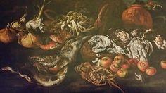 PAOLO PORPORA ( Napoli 1617 - Roma 1673 ). COMPOSIZIONE ALL ' APERTO CON PESCI, VOLATILI, MELE , CIPOLLE E VASO DI TERRACOTTA. olio su tela. 100 × 140 cm. Bibliografia : 2010, Spinosa, pag . 269, n . 294.Collezione Privata. Still Life, Paintings, Hunting, Wine Cellars, Animales, Illustrations, Artists, Paint, Painting Art