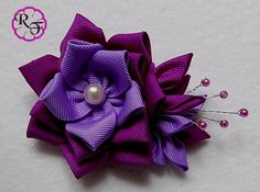 Items similar to Kanzashi flowers ,purple flowers ,hair accessory , Alligator clip on Etsy – Famous Last Words Diy Ribbon Flowers, Kanzashi Flowers, Ribbon Crafts, Flower Crafts, Flowers In Hair, Purple Flowers, Fabric Flowers, Diy Hair Bows, Diy Bow