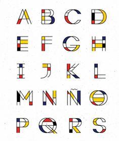 Type inspired in Mondrian. Type inspired in Mondrian. Alphabet Design, Hand Lettering Alphabet, Typography Letters, Alphabet Fonts, Typography Logo, Creative Lettering, Lettering Styles, Lettering Design, Logo Design