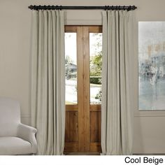 Exclusive Fabrics Signature Velvet Blackout Curtain Panel (Cool Beige - 84L), Size 84 Inches