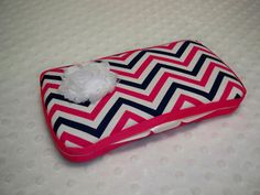 Chevron Pink and Navy Baby Girl Zig Zag Wipe Case by grinsandgigglesbaby1, $9.99