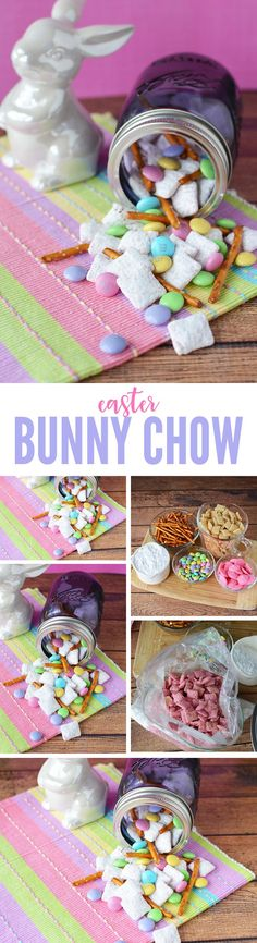 Easter Bunny Chow Recipe! An Easy Easter Treat that everyone can enjoy! Easter Party and Egg Hunt Dessert or Party Favor! A kid-friendly dessert!