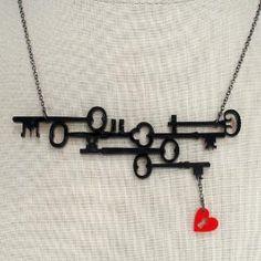 Skeleton Keys Heart Necklace