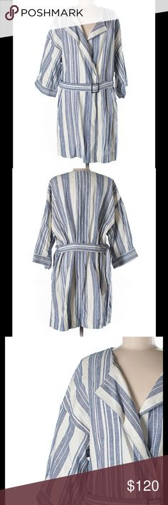 """Elevenses Belted Jacket NWT! Nothing says Spring to me more than white and blue stripes! This piece is versatile enough that you can wear it as a belted shirtdress styled over white denim, or remove belt and wear open like a kimono jacket or duster! 55 Linen/45 Cotton. Measures: 50""""Bust, 38""""Length. No trades. Anthropologie Jackets & Coats"""