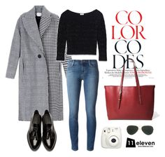 """""""Houndstooth Coat × Tasseled Loafers × Agate Red Tote"""" by hielevencom ❤ liked on Polyvore featuring Edun, Yves Saint Laurent, J Brand, Burberry, Ray-Ban, women's clothing, women's fashion, women, female and woman"""
