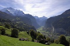 Lauterbrunnen Switzerland - stayed there in 2000...must go back!  But not until my kids are old enough to not fall off of cliffs.