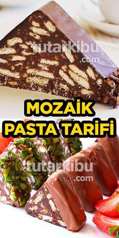 Mozaik Pasta Tarifi - Decoration Tutorial and Ideas My Cookbook, Chocolate Cake, Tart, Food And Drink, Meals, Baking, Sweet, Desserts, Pizza
