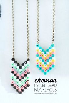 Chevron Perler Bead Necklaces - thecraftedsparrow.com #necklaces #chevron