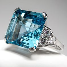 Vintage Aquamarine Diamond Cocktail Ring Solid Platinum Fine Estate Jewelry | eBay