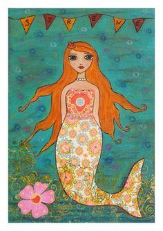 Mermaid Art Print on Wood Whimsical Mermaid Painting by Sascalia, $35.00