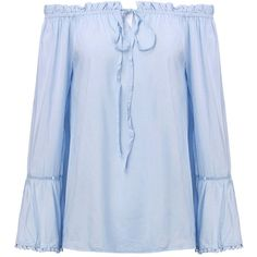 Women Off Shoulder Flouncing Ruffle Tassels Stitching T-Shirt (125 GTQ) ❤ liked on Polyvore featuring tops, t-shirts, newchic, shirts, light blue, light blue long sleeve shirt, long sleeve shirts, pattern t shirt, collar t shirt and blue collared shirt