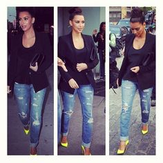 Casual denim and Neon Heels dressed up with a blazer
