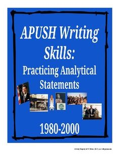 This activity gives students a chance to practice writing analytical statements using specific evidence from the period 1980-2000. Students are given a variety of position statements for which they are expected to find supporting evidence and explain connections to the those position statements.