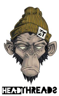 & # Head threads & # Monkey illustration by Jessie Orgee - Grafiti. Cartoon Kunst, Comic Kunst, Cartoon Art, Comic Art, Cartoon Monkey Drawing, Zombie Cartoon, Graffiti Art, Arte Dope, Dope Art