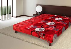 "AmazonSmile - Luxurious Microfiber Plush Flannel Blanket Red Abstract Garden 79""x94"" Queen Size Ultrasoft and Cozy -"
