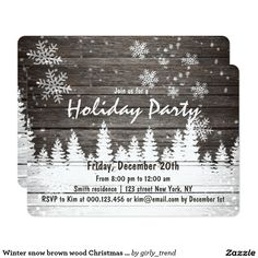 Winter snow brown wood Christmas Holiday party 2 Card