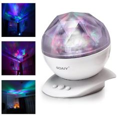 SOAIY Color Changing Led Night Light Lamp & Realistic Aurora Star Borealis Projector for Children and Adults as Sleep Aid Light, Decorative Light, Mood Light in Kids Room, Bedroom, Living Room (White)