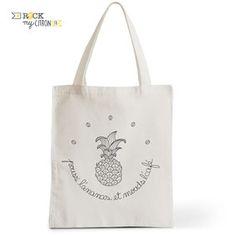 Tote Bag Rock my Citron, Pouss' l'Ananas, Cadeaux Fêtes, Anniversaires, Naissances