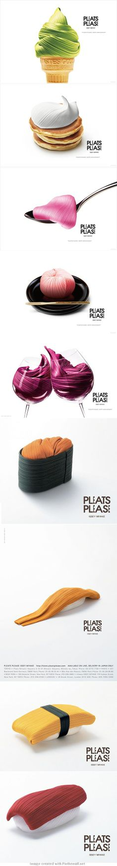 Issey Miyake 20th anniversary. Neautiful creativity #advertising #posters inspired by delicious foods | Ivan Giorgetti