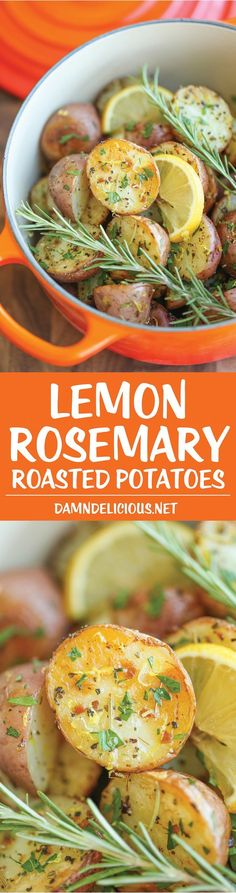 Lemon Rosemary Roasted Potatoes - Lemon and rosemary come together beautifully in this quick and easy go-to side dish, perfect for every meal!