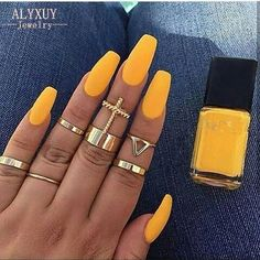Trendy Yellow Nail Art Designs To Make You Stunning In Summer;Acrylic Or Gel Nails; French Or Coffin Nails; Matte Or Glitter Nails; Cute Acrylic Nails, Acrylic Nail Designs, Cute Nails, Gel Nails, Acrylic Nails Yellow, Acrylic Nails For Summer Coffin, Aqua Nails, Acrylic Gel, Classy Nails