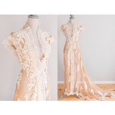 tea gown dresses victorian  | Antique Tea-Stained Victorian Edwardian Wedding/Dressing Trained Gown ...