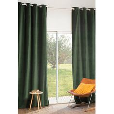 Ösenvorhang FORÊT aus Samt, 140 x 300 cm, grün