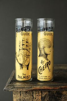 These gorgeous vintage candles would make a fantastic gift The candles stand in beautiful glass jars and feature either a Palmistry or Phrenology