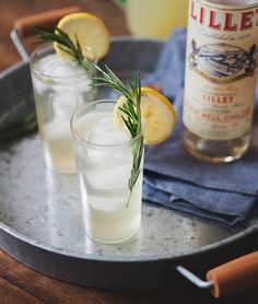 ginger lemonade collins with lillet & rosemary