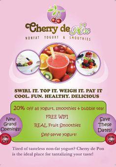 Breaking News: Got Yogurt? New Frozen Yogurt Shop Cherry De Pon Opens in Kirkland, Everett and Lynnwood, WA