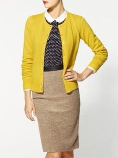 classic cashmere cardigan. love this look!