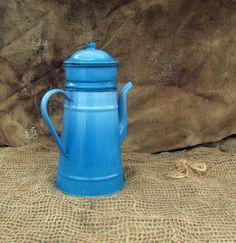 French farmhouse blue enamel coffee jug.