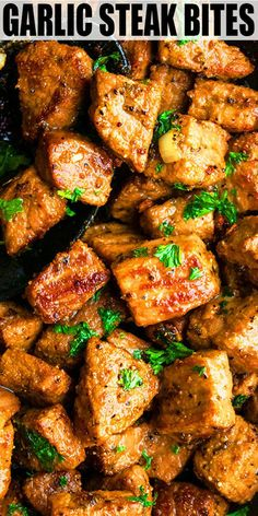 GARLIC BUTTER STEAK BITES RECIPE- The best quick and easy garlic steak bites recipe, made with simple ingredients in one pot or pan over stovetop in 15 minutes. Enjoy it as an appetizer, snack, main d Easy Meat Recipes, Pork Recipes, Healthy Dinner Recipes, Breakfast Recipes, Chicken Recipes, Cooking Recipes, Steak And Chips Recipes, Stewing Beef Recipes, Cooking Fails