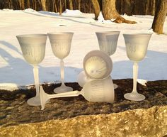 Frosted Crystal Cocktail Trinkles Set of 6 by MysticLandPainted