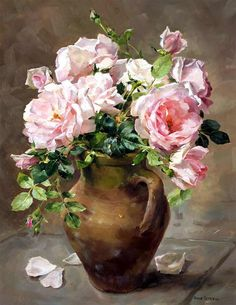 Lush pink roses arranged in a terracotta pot. An Anne Cotterill oil painting rep. - Lush pink roses arranged in a terracotta pot. An Anne Cotterill oil painting reproduced into a high - Art Floral, Flower Vases, Flower Art, Cactus Flower, Contemporary Abstract Art, Terracotta Pots, Hanging Art, Beautiful Paintings, Flower Prints