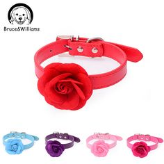 Bruce&Williams 5 Color Sweet Rose Flower Dog Collar Necklace PU Leather Dog Pet Puppy Collars Adjustable Dog Cat Leash DC0307 #Affiliate