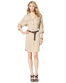 Michael Kors Sand charmeuse. Spread collar; button front. Long sleeves may be tabbed. Front pockets. Relaxed fit. Shirttail hem. Silk. Imported.