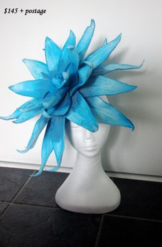 One Of A Kind Original large / huge flower fascinator races, derby cup, Ascot, wedding shades of blue, desginer hand made by TwistedInTheTropics on Etsy Ascot, Shades Of Blue, Fascinator, Derby, The Originals, Hats, Flowers, Handmade, Wedding