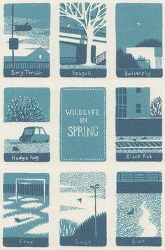Wildlife in Spring By Jon McNaught - Screenprint #TopToBottom #WearTeal #Belabumbum: