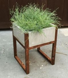 Wood and Concrete Planter from Home Depot | Gardenista