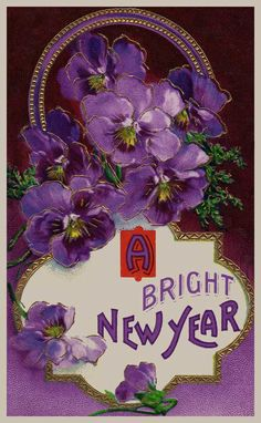 A Bright New Year vintage postcard with a basket o' purple pansies