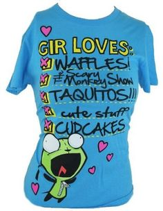 "Amazon.com: Invader Zim Ladies T-Shirt - ""Gir Loves"" Checklist on Light Blue (Small): Clothing"