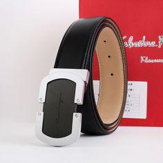 846c882bbc Adjustable Belt black silver rectangle buckle dark brown calfskin