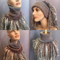Handmade Knit Cowl with artsy fringe, Knit neckwarmer, turtleneck scarf, tan grey cowls, hand spun fibers, blush tan, boho,