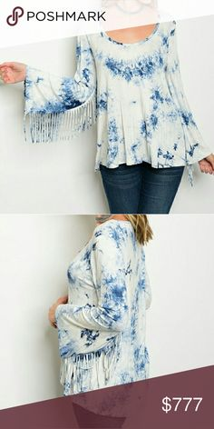 Coming soon Sassy tie dye long sleeved top with playful fringed details on sleeves!! Pair with jeans, boots and a floppy hat!! Gran this sassy top before it's gone! Tops Tees - Long Sleeve