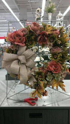 Burlap Fall ribbon wreath...Robin Evans